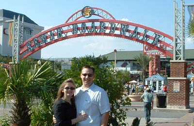 Tasha and Will infront of the Kemah Boardwalk