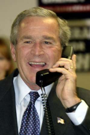 George W. Bush, President gets a call from Sen. John Kerry